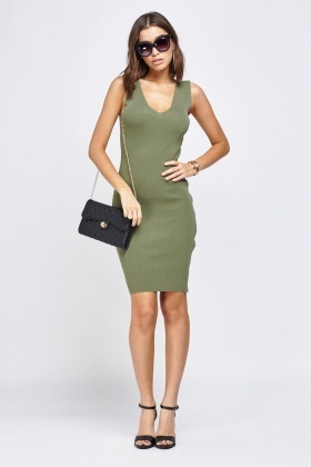 Ribbed Zipped Side Bodycon Dress