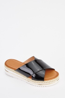 Crossed Strap Espadrille Sandals