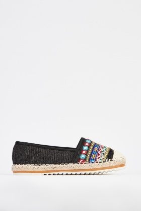 Embroidered Front Espadrilles