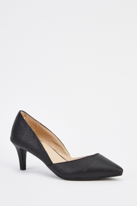 Faux Leather Court Kitten Heel