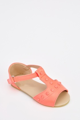 Faux Leather T-Bar Sandals