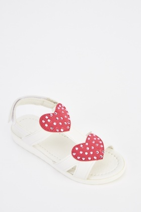 Heart Embellished Kids Sandals