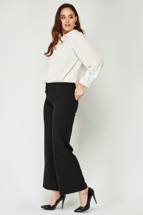 Black Flared Tapered Trousers