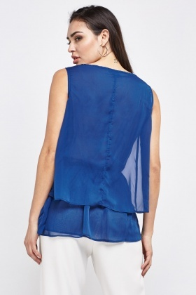 Embellished Front Chiffon Tiered Top