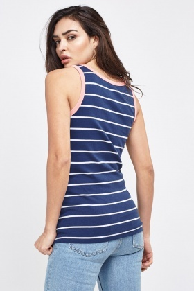 Navy Striped Vest Top