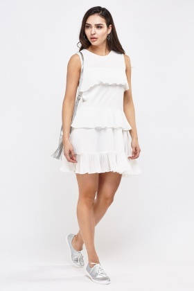 Pleated Ruffle Tiered Dress