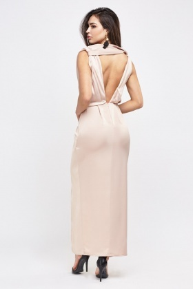 Plunge Twisted Front Maxi Dress
