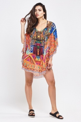 Printed Kaftan Cover Up Top