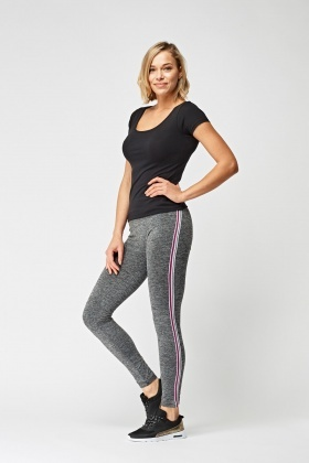 Speckled Sports Leggings With Side Stripe Panel