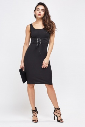 Tie Up Front Jersey Dress