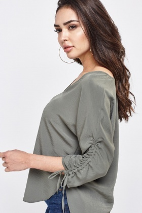 V-Neck Top With Gathered Tie Sleeves