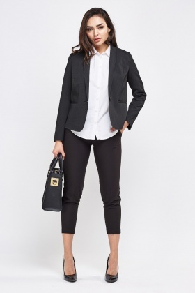 White Dotted Smart Black Blazer
