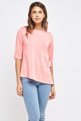 Casual Top With Ribbon Tie To Side