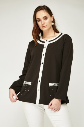 Diamante Encrusted Front Monochrome Cardigan