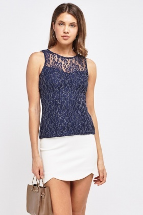 Illusion Lace Overlay Top
