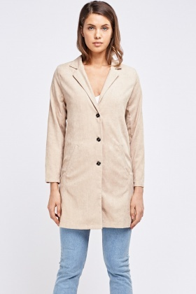 Metallic Insert Corduroy Long Jacket