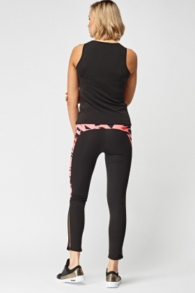 Print Mesh Side Panel Sports Tank Top And Leggings Set