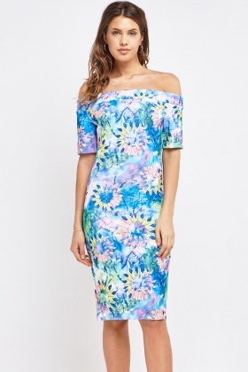 Printed Off Shoulder Bardot Dress