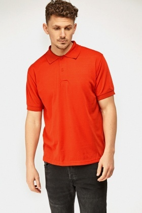 Red Short Sleeve Polo Top