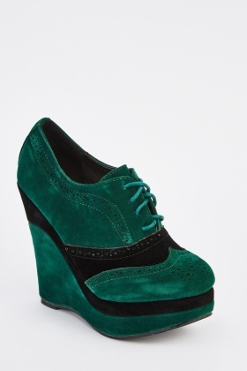 Colour Block Suedette Wedge Shoes