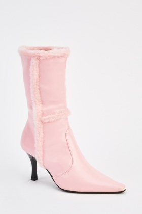 Faux Fur Trim Heeled Boots