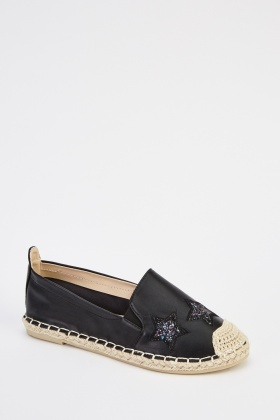 Faux Leather Contrast Espadrilles