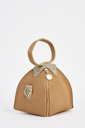 Faux Leather Shoulder Contrast Bag