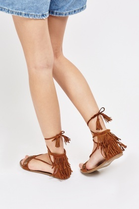 Fringed Back Suedette Sandals