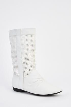 Laser Cut Faux Leather Boots