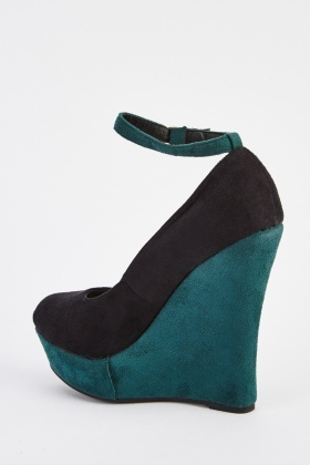 Suedette Ankle Strap Wedge Shoes