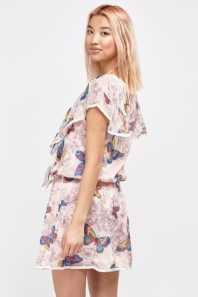 Butterfly Print Ruffle Mini Dress