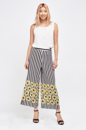 Flower And Stripe Contrast Culottes
