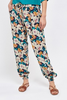 Flower Print Tapered Joggers