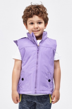 Lilac Hooded Boys Bodywarmer
