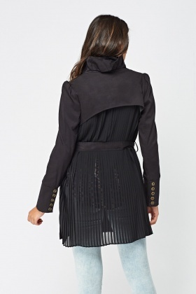 Pleated Sheer Back Ruffle Coat