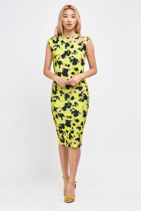Printed Cut Out Side Midi Dress