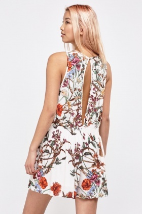 Printed Keyhole Wrap Playsuit