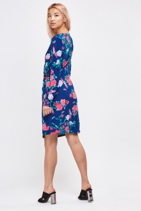Printed Ruched Front Wrap Dress