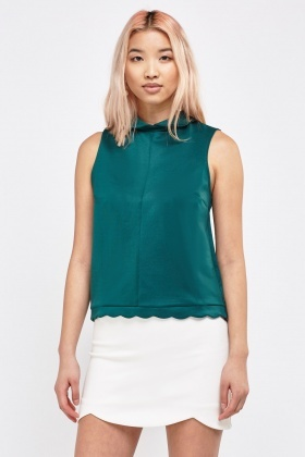 Sleeveless Scallop Top
