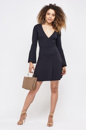Ribbed Wrap Front Dress