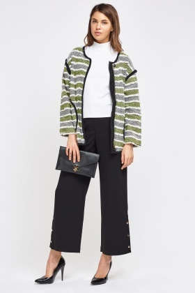 Speckle Stripe Contrast Knit Jacket