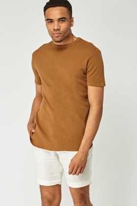 Textured Short Sleeve Basic Top
