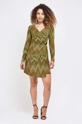 Zig Zag Printed Wrap Dress