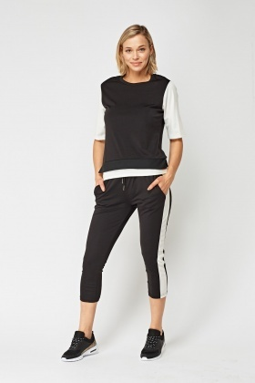 Colour Block Sports Top And Cropped Joggers Set
