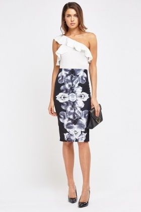 Flower Printed Pencil Skirt