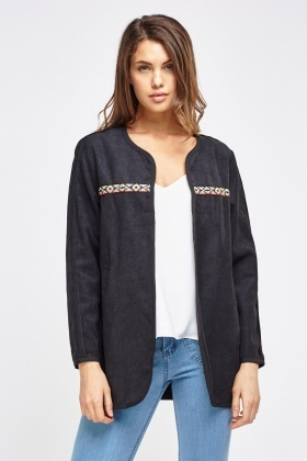 Jersey Knit Collarless Jacket