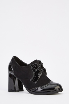 Contrast Block Heel Shoes