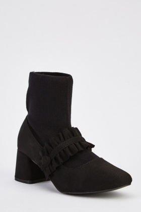 Contrast Frilled Front Block Heel Boots