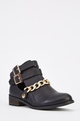 Faux Leather Chained Ankle Boots