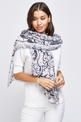 Rose Printed Thin Scarf